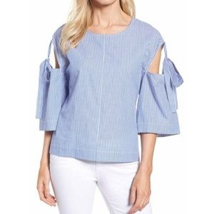 Halogen Blue Striped Sleeve Tie Blouse